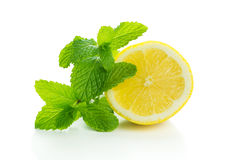 Lemon with mint Stock Photography