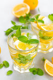Lemon mojito cocktail with fresh mint, cold refreshing summer drink. Or beverage with ice Stock Images