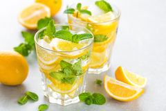 Lemon mojito cocktail with fresh mint, cold refreshing summer drink Royalty Free Stock Images