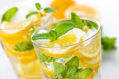 Lemon mojito cocktail with fresh mint, cold refreshing summer drink Stock Images