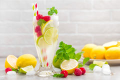Lemon mojito cocktail with lime, mint and raspberry, cold drink with ice. Stock photo Stock Photography