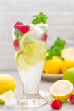 Lemon mojito cocktail with lime, mint and raspberry, cold drink with ice. Stock photo Stock Image