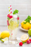 Lemon mojito cocktail with lime, mint and raspberry, cold drink with ice. Stock photo Stock Photos