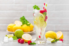 Lemon mojito cocktail with lime, mint and raspberry, cold drink with ice. Stock photo Royalty Free Stock Photography