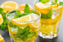 Lemon mojito cocktail with mint Stock Photos