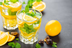 Lemon mojito cocktail with mint Stock Photo