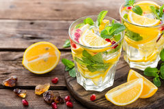 Lemon mojito cocktail with mint and pomegranate Royalty Free Stock Photography