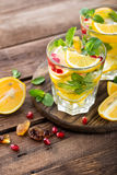 Lemon mojito cocktail with mint and pomegranate Stock Photography