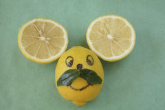 Lemon mouse face with mustache Royalty Free Stock Photos