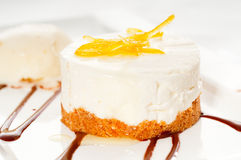 Lemon mousse served whith lemon peel on top Royalty Free Stock Photography