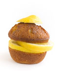 Lemon muffin isolated Stock Photo