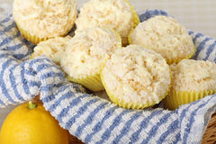 Lemon Muffins in a Basket Royalty Free Stock Images