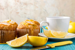 Lemon Muffins with cup of tea / coffee Royalty Free Stock Image