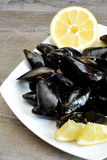 Lemon and mussels raw Stock Photo