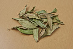 Lemon Myrtle dried Leaves. A bowl of organic dried leaves from the Lemon Myrtle plant stock photo