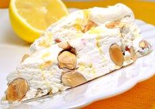 Lemon Nougat. On the white plate Stock Photography