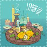 Lemon oil used for aromatherapy Stock Photos