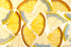 Lemon and orange. Orange and lemon slices on white background Stock Images