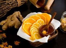 Lemon and orange around bowl with honey Royalty Free Stock Photo