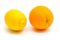 Lemon and orange citrus fruits Royalty Free Stock Images