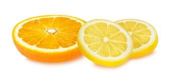 Lemon and orange fruit isolated on white Royalty Free Stock Photography