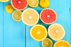 Lemon, Orange, Grapefruit And Lime Citrus Fruit Slices Royalty Free Stock Images
