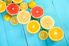 Lemon, Orange, Grapefruit And Lime Citrus Fruit Slices Stock Photos