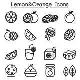 Lemon & Orange icon set in thin line style Royalty Free Stock Photo