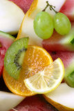 Lemon, orange, kiwi, grapes, melon and watermelon. Fruits background stock photos