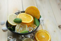 Lemon Orange Leaves Cube Ice Sea Shells Citrus in a Black Bowl Royalty Free Stock Photos
