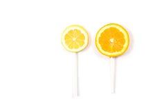 Lemon and orange like a lollipop Stock Photography