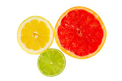 Lemon orange and lime in half Royalty Free Stock Images