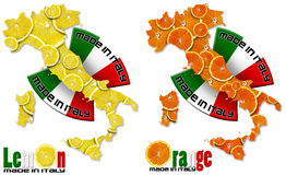 Lemon and Orange made in Italy. Italian territory with slices of lemon and orange, italian flag, made in Italy with a written royalty free stock images