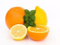 Lemon, orange and mint. Close up on lemon, orange and mint Royalty Free Stock Image