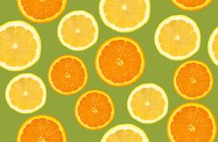 Lemon and orange sliced pattern, seamless background Stock Images