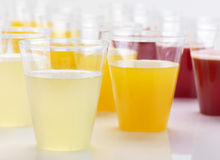 Lemon, orange and strawberry juice Stock Image