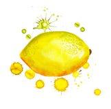 Lemon with paint blots Stock Photo