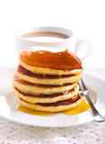 Lemon pancakes with honey Stock Photography
