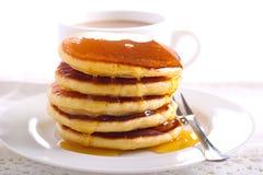 Lemon pancakes with honey on top Royalty Free Stock Photo