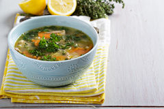 Lemon pasta chicken soup Royalty Free Stock Photo