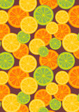 Lemon pattern with Brown background Royalty Free Stock Image