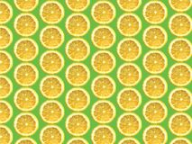 Lemon pattern. Realistic vector lemon fruit pattern on green background stock illustration