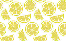 Lemon pattern with round and half slices at white background. Fresh summer seamless background. Royalty Free Stock Photo
