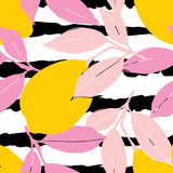 Lemon pattern. Seamless decorative background with yellow lemons and pink leaves on black stripes grunge background. Royalty Free Stock Photo