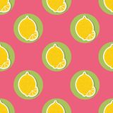Lemon pattern. Seamless texture with ripe lemons Stock Photo