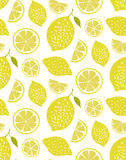 Lemon pattern, seamless vector texture with hand drawn yellow citrus. Fresh summer background. Royalty Free Stock Photography
