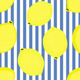 Lemon pattern. Summer fruit vector illustration on blue stripped background. Royalty Free Stock Images