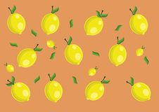Lemon pattern. Vector lemon pattern and background Stock Images