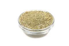 Lemon pepper powder in a glass container Stock Photo