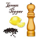 Lemon Pepper, Whole Black Peppercorns, Lemons, Wood Spice Mill Stock Photo